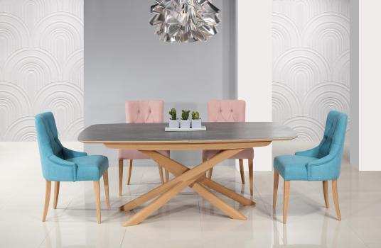 Table rectangulaire Stéphane  en chêne pour le pieds céramique pour le plateau et l'allonge.