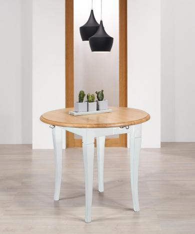 Table ronde à volets  en chêne massif de style Louis Philippe avec 2 allonges de 40 cm Diamètres 90 cm Pieds et ceinture Ivoire  Plateau + allonges : chêne naturel