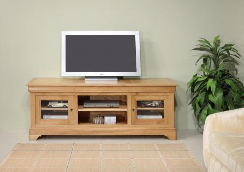 Meubles tv 16/9eme mathilde réalisé en chêne massif de style louis philippe  longueur 180 cm