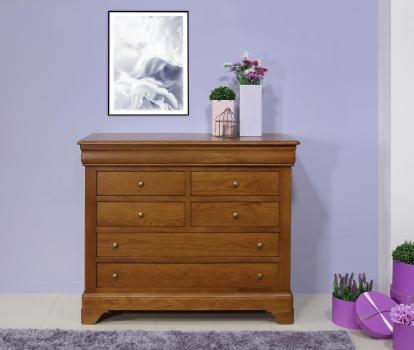 Commode 7 tiroirs Mathilde en chêne massif de style Louis Philippe Finition Chêne Moyen