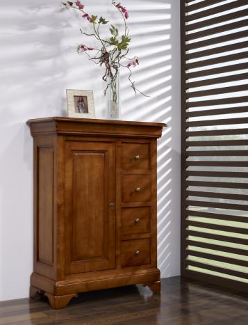 Farinier 1 porte 5 tiroirs Anne-Sophie réalisé en Merisier Massif de style Louis Philippe