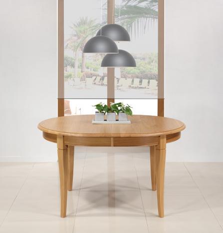 Table ovale Angèle  en Chêne Massif de style Louis Philippe 135x110 + 4 allonges de 40 cm