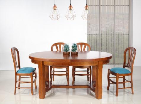 Table de ferme ovale Dora  en Merisier Massif de style Campagnard 170*110