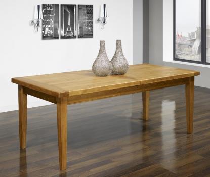 Table de Ferme Rectangulaire  en Chêne massif  200*90 + 2 allonges de 45 cm