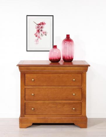 Commode 3 tiroirs Guillaume réalisée en chêne de style Louis Philippe Finition Chêne Moyen SEULEMENT 1 DISPONIBLE