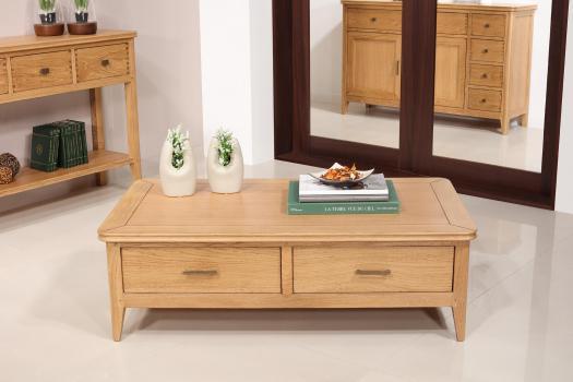 Table basse rectangulaire Evan  en chêne de style contemporain 2 grands tiroirs va-et-vient