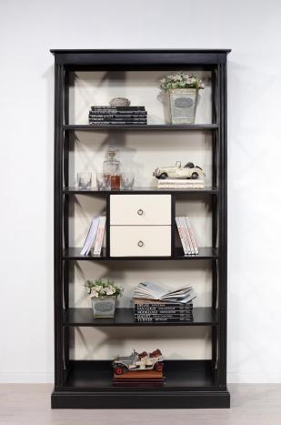 Bibliothèque croisillons 4 étagères et 2 tiroirs  en Merisier Bi-color