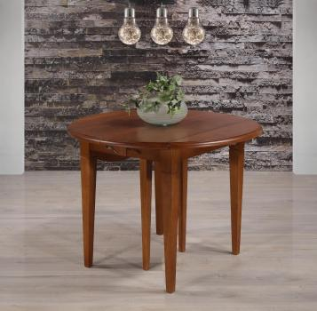 Table ronde à volets  en Chêne Massif de style Louis Philippe 6 pieds Fuseaux Diamètre 105 et 3 allonges de 40 cm
