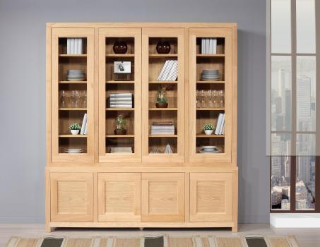 Bibliothèque 2 corps Rafael réalisée en Chêne de style contemporain 4 portes vitrées