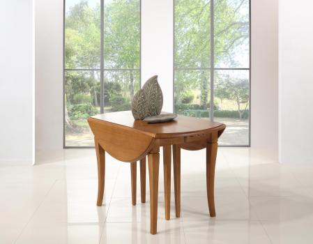 Table ronde à volets DIAMETRE 120 en chêne massif de style Louis Philippe 7 allonges de 40 cm