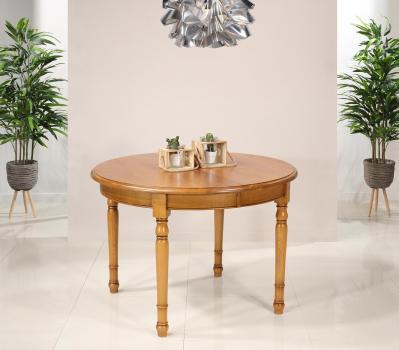 Table ronde Fabien réalisée en Chêne massif de style Louis Philippe Diamètre 120 + 2 allonges de 40 cm Finition chêne doré patine antiquaire (léger vieillissement du bois) 1 seule disponible Pas de réassort