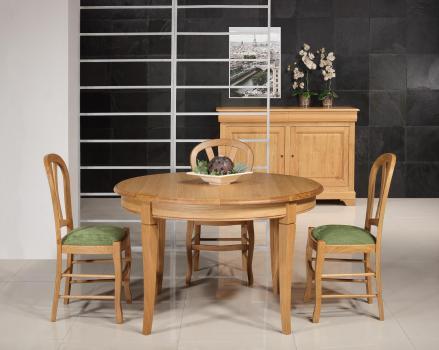Table ronde 4 pieds -  en Chêne Massif de style Louis Philippe Diamètre 120 cm