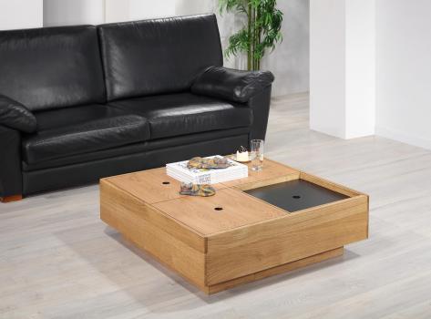 Table basse carrée 90x90 en Chêne de Ligne contemporaine coffres rangements SEULEMENT 1 DISPONIBLE