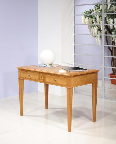 Table d'écriture 2 tiroirs ROSE DES VENTS réalisée en Chêne de style Directoire SEULEMENT 1 DISPONIBLE