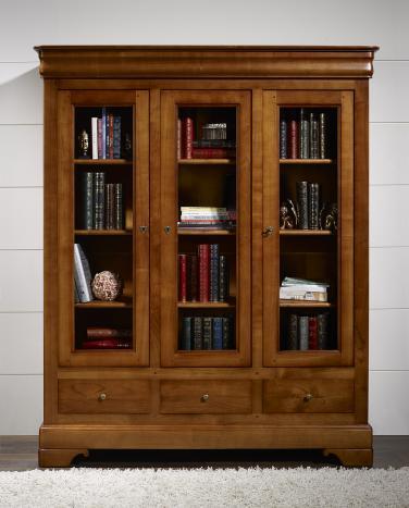 Bibliothèque 3 portes 3 tiroirs Thomas, réalisée en Merisier Massif de style Louis Philippe