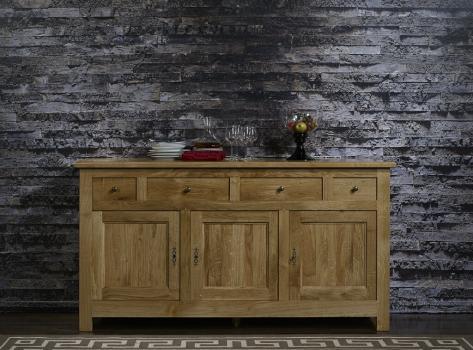 Buffet nicolas réalisé en chêne massif de style campagnard 3 portes 4 tiroirs