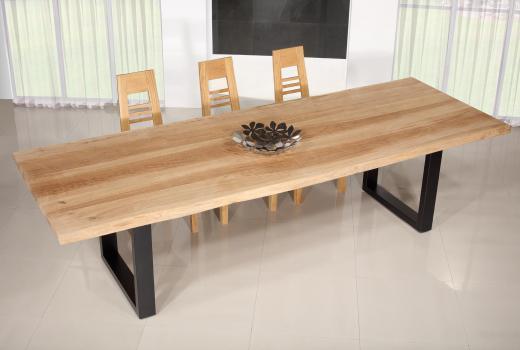Table de repas fer et chêne massif 300x100 Epaisseur de la planche 4,5 cm Pièce unique