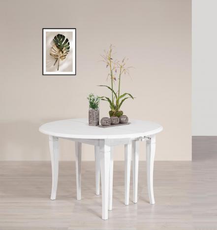 Table ronde à volets diamètre 120  en Chêne massif de style Louis Philippe 10 allonges de 40 cm (24 personnes) Finition Chêne Brossé Ivoire