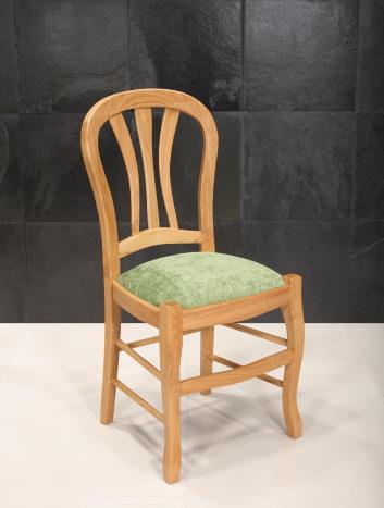 Chaise Gabriel réalisée en chêne massif de style Louis Philippe Assise tissu d'ameublement