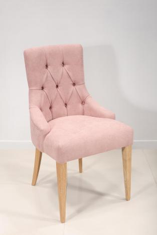 Chaise de séjour Capitonnée, 4 pieds en Chêne Massif Tissu rose
