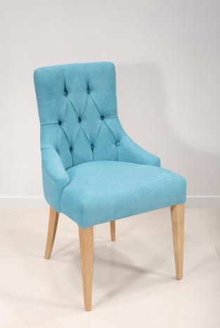 Chaise de séjour Capitonnée 4 pieds en Chêne Massif Tissu bleu