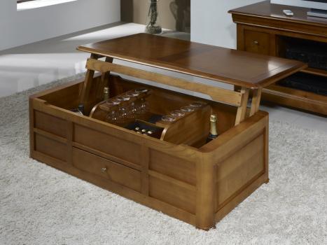 Table Basse Bar Pauline réalisée en Merisier de style Louis Philippe