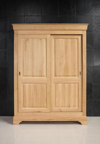 Armoire 2 portes Jean-Baptiste en Chêne Massif portes coulissantes de style Louis Philippe
