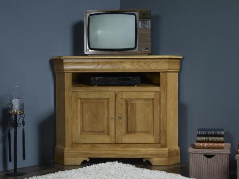 Meuble tv d'angle arnaud réalisé en chêne massif de style louis philippe