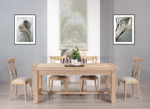 Table de ferme rectangulaire Axel  en Chêne massif 200x100 + 2 allonges de 45 cm Finition Chêne Brossé