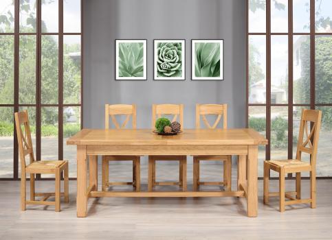Table de Ferme Axel  en Chêne Massif 200x100 + 2 allonges de 45 cm Pieds Chanfreins