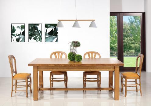 Table de Ferme Axel  en Chêne Massif 200x100 + 2 allonges de 45 cm Pieds Chanfreins Finition Chêne Doré SEULEMENT 1 DISPONBLE
