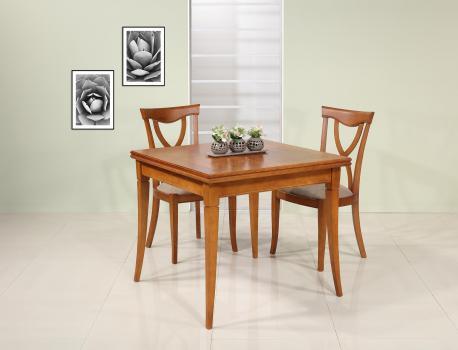 Table de salle à manger carrée clothilde 90x90 en merisier de style louis philippe double plateau seulement 1 disponible