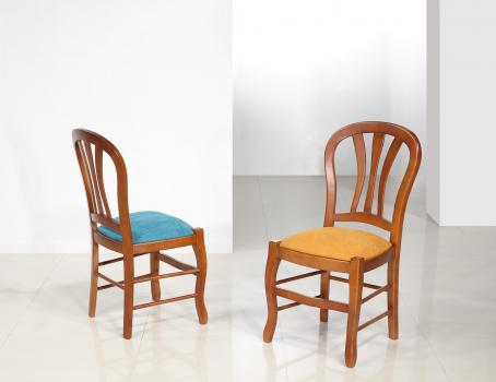 Chaise Camille réalisée en MERISIER Massif assise tissu de style Louis Philippe Assise coloris MOUTARDE