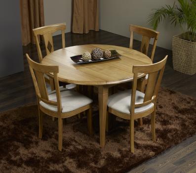 Table ronde à volets Valérie réalisée en Chêne Massif de style Louis Philippe, 8 pieds 5 allonges de 40 cm DIAMETRE 120