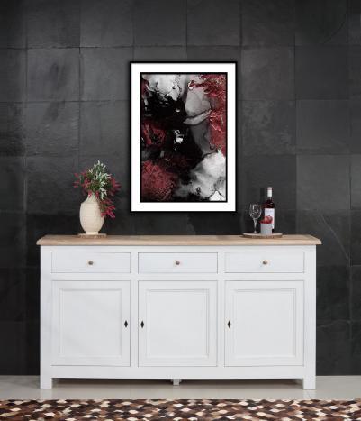 Buffet 3 portes Yann réalisé en Chêne Massif de style Campagnard Finition Chêne Brossé Ivoire pour le corps, Plateau brossé blanchi Profondeur 40 cm SEULEMENT 1 DISPONIBLE