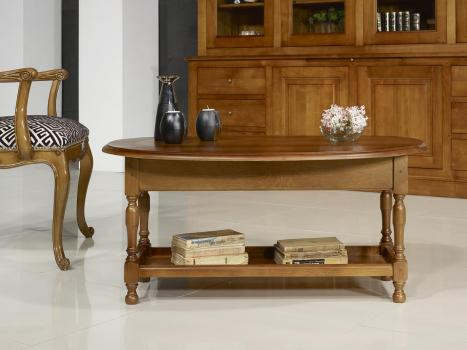 Table Basse Victor réalisée en Chêne Massif de style Louis Philippe Finition Chêne Moyen