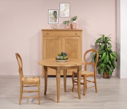 Table ronde à volets 6 pieds sabres  en Chêne de style Louis Philippe Diamètre 100 cm + 3 allonges de 40 cm