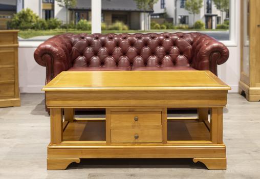 Table basse camille en merisier de style louis philippe 2 tiroirs en va et vient finition merisier blond seulement 1 disponible