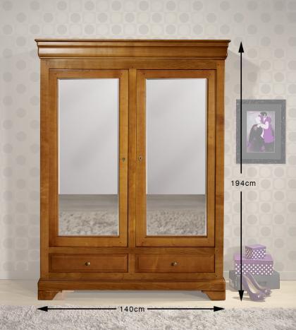 Petite armoire 2 portes 2 tiroirs Inès en merisier massif de style Louis Philippe  Miroir sur les portes
