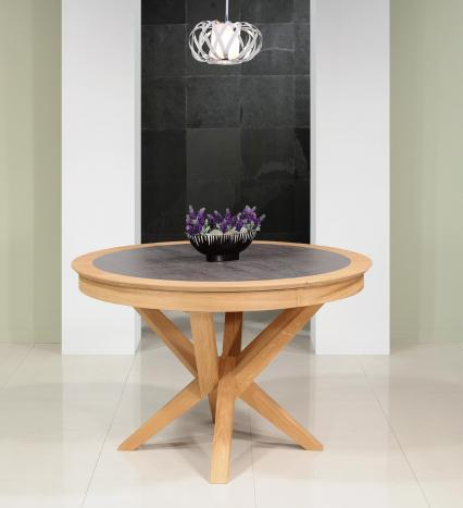 Table ronde Contemporaine Romain diamètre 120 cm  en chêne avec un pieds central et 1 allonge portefeuille de 50 cm Céramique Iron Grey