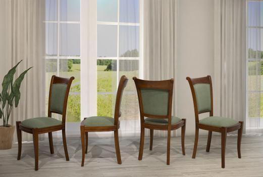 Lot de 4 chaises pauline en merisier massif de style louis philippe tissu elastron seulement 1 disponible