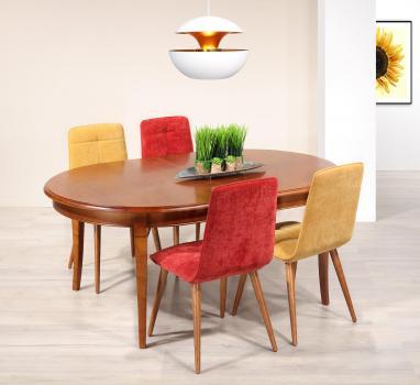 Table ovale de salle à manger Estelle  en Merisier Massif de style Louis Philippe 180x120 avec 3 allonges