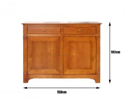 Buffet 2 portes 2 tiroirs Marthe, réalisé en merisier massif de style Directoire