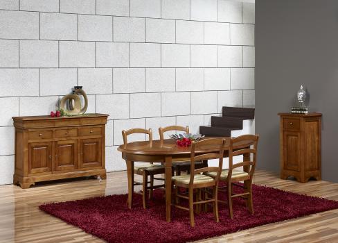 Table Ovale de salle à manger Estelle  en Merisier Massif de style Louis Philippe 135x110 + 2 allonges de 40 cm