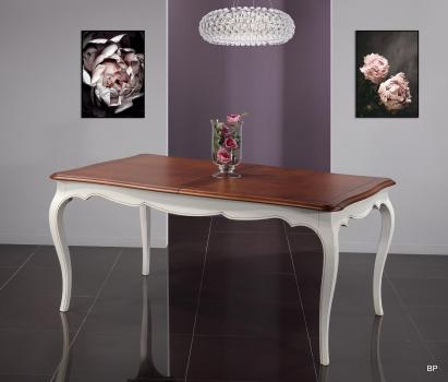 Table rectangulaire 165x100 Mila  en merisier de style Louis Philippe 1 allonge de 60 cm SEULEMENT 1 DISPONIBLE