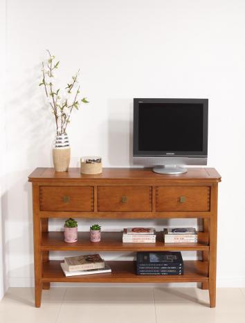 Console 3 tiroirs Evan  en chêne de style Contemporain 2 étagères Finition Chêne Moyen (Photographie)