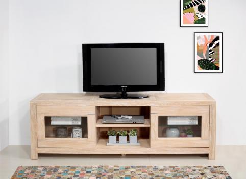 Meuble TV 2 portes vitrées Loann  en chêne massif de style Contemporain Longueur 190 cm