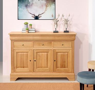 Buffet hugo 3 portes 6 tiroirs, réalisé en chêne massif de style louis philippe