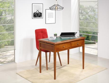 Table d'écriture  en Merisier de style Louis Philippe Surface d'écriture recouverte d'une moleskine verte