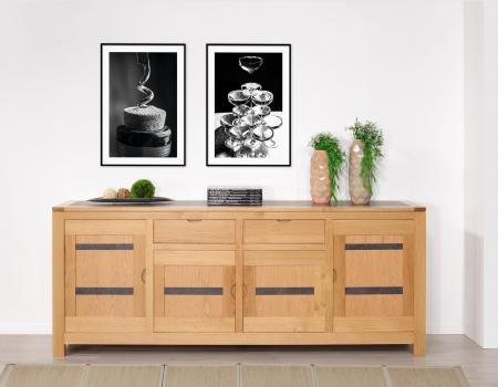 Buffet Clémence 4 portes 2 tiroirs en chêne de ligne contemporaine Plateau et portes avec céramiques